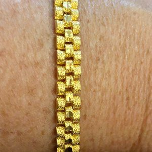 Solid 24K Yellow Gold Rolex Style Link Bracelet